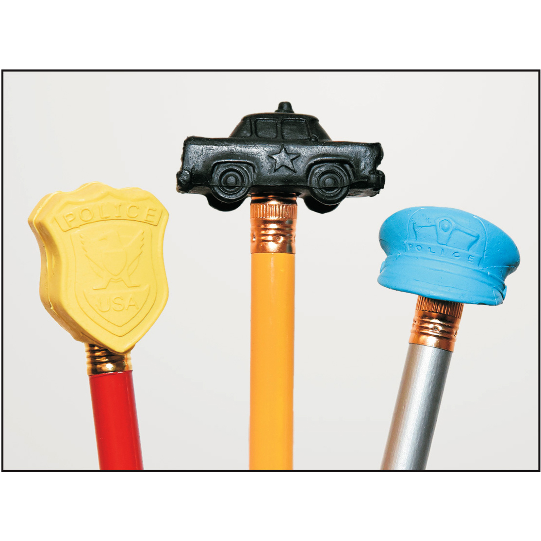 Pencil Top Erasers - Police Themed (Stock)