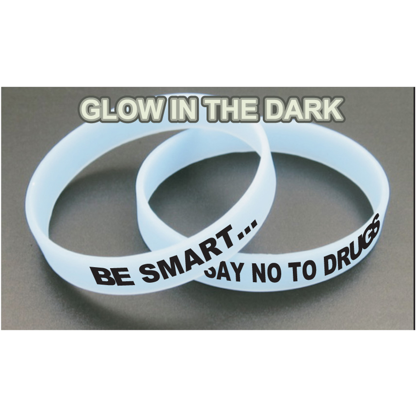 Awareness Bracelets - Glow In The Dark Blue (Custom)