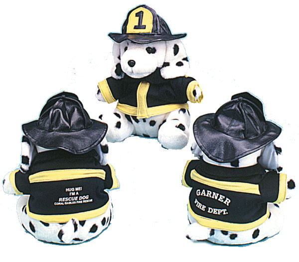 9 Dressed Firefighter Stuffed Animal Dalmatian Dogs Stock