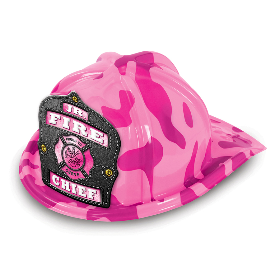 DELUXE Fun Fire Hats - Pink Camo Jr. Firefighter (Stock)