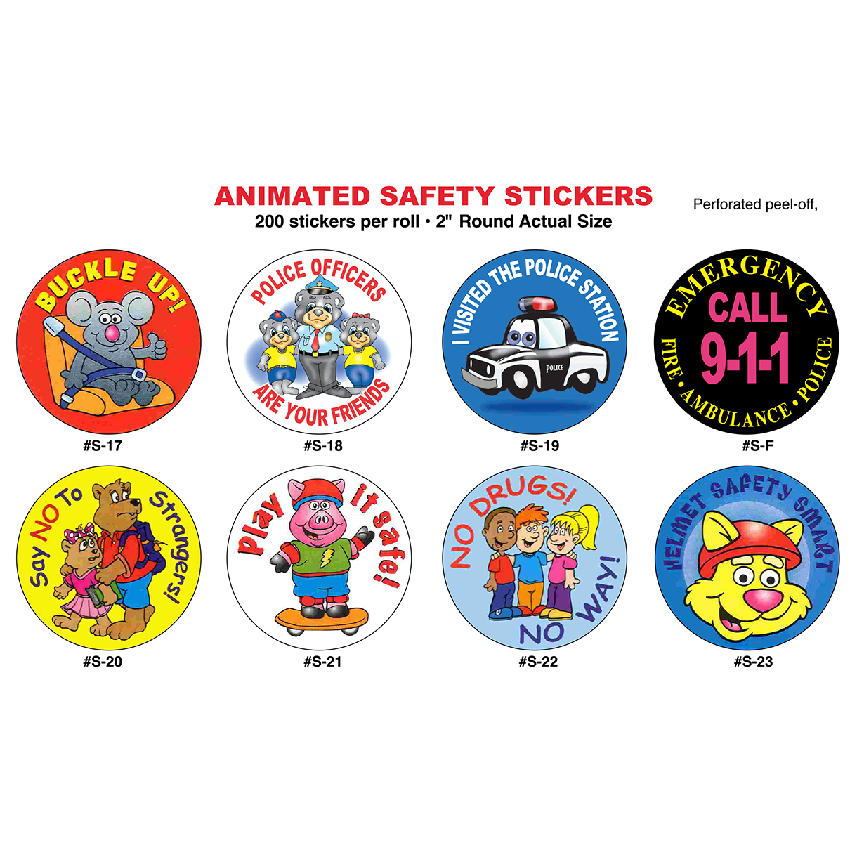 "2"" Police Animated Safety Stickers (Stock)"