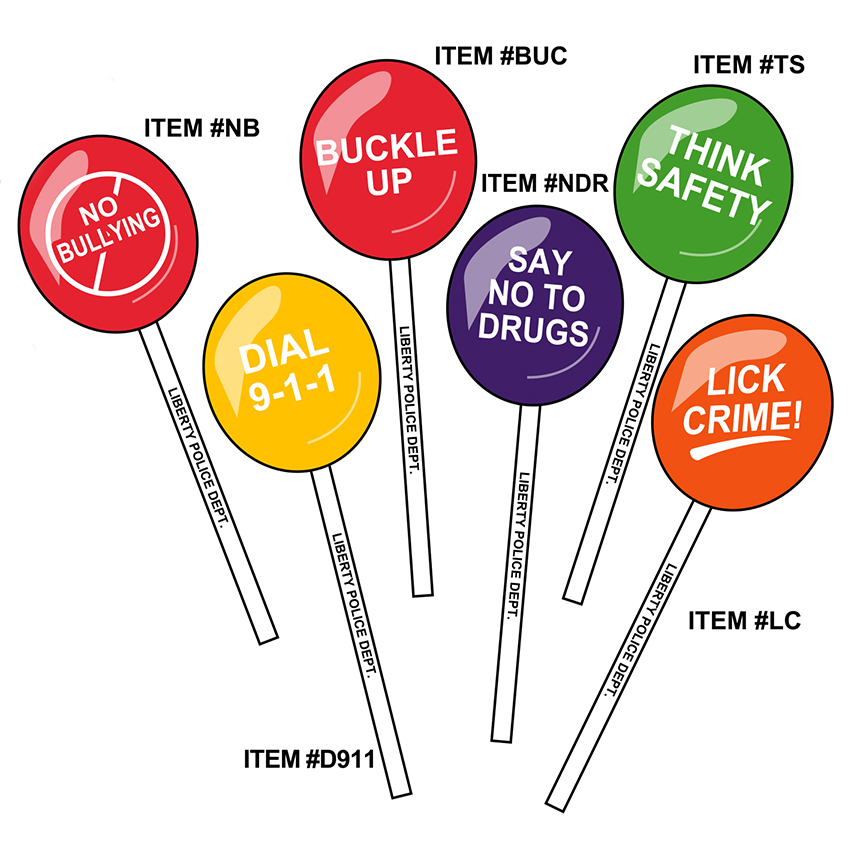 Safety Stick Lollipops - Police (Custom)