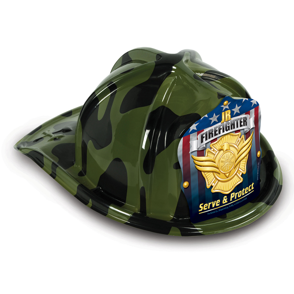 DELUXE Fun Fire Hats - Camouflage Jr. Firefighter (Stock)
