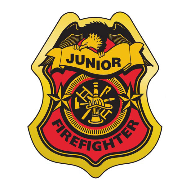 stick on junior firefighter badges stock badges