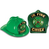 DELUXE Fire Hats - Jr. Fire Chief Green Design (Stock)