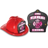 DELUXE Fire Hats - Jr. Fire Chief Pink / Black Design (Stock)