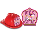 DELUXE Fire Hats - Jr. Fire Chief Dalmatian Pink Design (Stock)