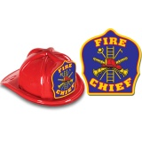 DELUXE Fire Hats - Fire Chief Blue Design (Stock)