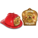 DELUXE Fire Hats - Junior Firefighter Gold Design (Stock)