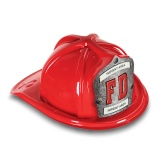 DELUXE Plastic Fire Hats - FD Silver Shield Design (Custom)