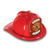 DELUXE Plastic Fire Hats - FD Red & Gold Design (Custom)