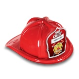 DELUXE Plastic Fire Hats - Fire Chief Silver Design (Custom)