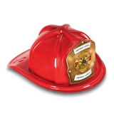 DELUXE Plastic Fire Hats - FD Gold Shield & Maltese Design (Custom)