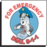 Dial 9-1-1 Temporary Tattoo (Stock)