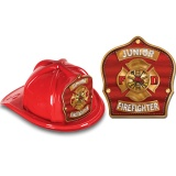 DELUXE Fire Hats - Junior Firefighter Red / Gold Design (Stock)