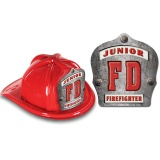 "DELUXE Fire Hats - Junior Firefighter ""FD"" Design (Stock)"