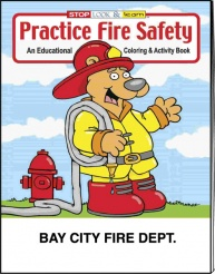 """Practice Fire Safety"" Coloring Books (Custom)"