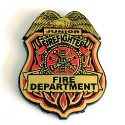 Clip-On Junior Firefighter Plastic Badges (Stock)