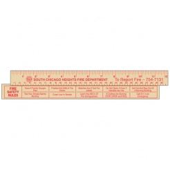 "12"" Economy Natural Wood Rulers - Safety Rules (Custom)"