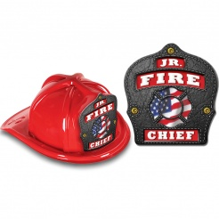 DELUXE Fire Hats - Patriotic Jr. Fire Chief Red / Black Design (Stock)