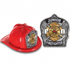 DELUXE Fire Hats - Junior Firefighter Silver Design (Stock)