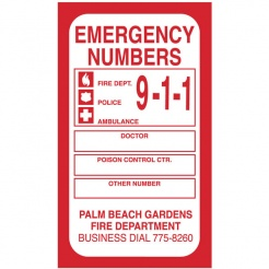 Emergency Numbers Flexible Magnets (Custom)
