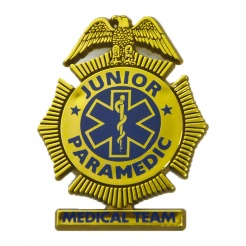 Junior Paramedic Plastic Badges with Pin (Stock)