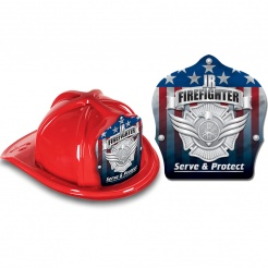 DELUXE Fire Hats - Patriotic Jr. Firefighter Gold Maltese (Stock)